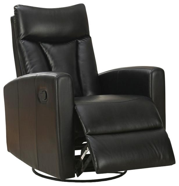 monarch specialties black bonded leather swivel glider