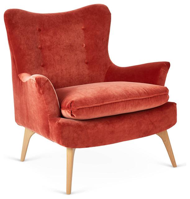 Sonja velvet chair burnt orange contemporary for Burnt orange accent chair