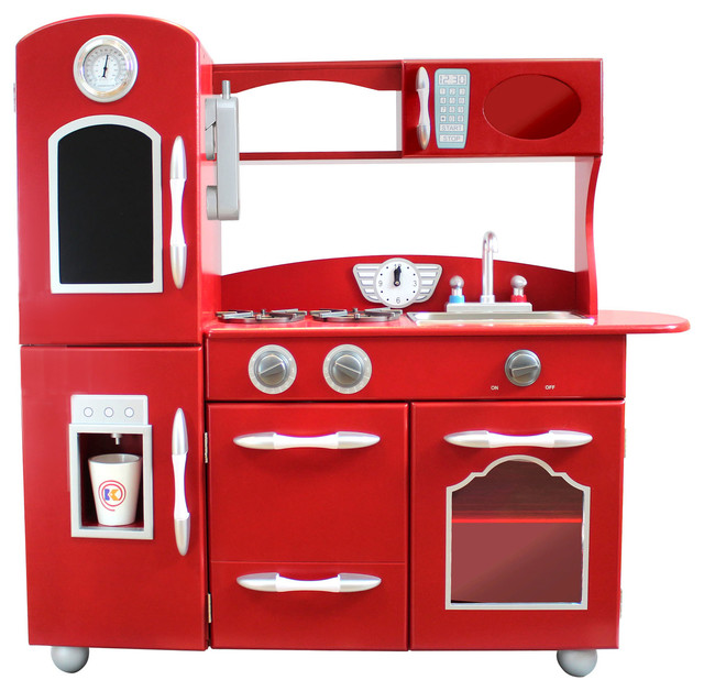 Realistic Play Kitchen Ultimate Corner With Lights And: Teamson Kids Childrens Wooden Play Kitchen, 1 Piece, Red