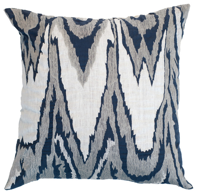 Bandhini Homewear Design Ikat Navy Lounge Throw Pillow - Modern - Decorative Pillows - by Layla ...
