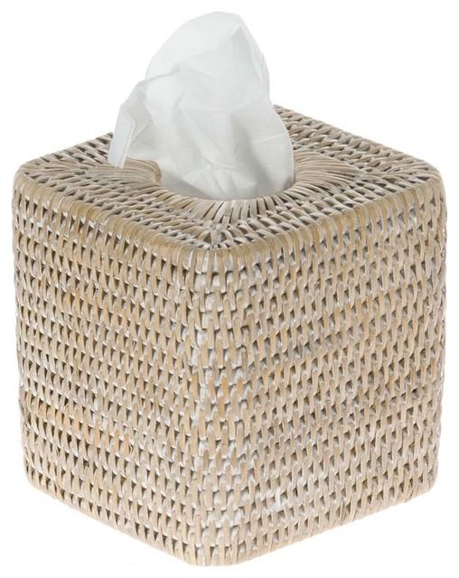 La jolla rattan square tissue box cover white wash - White wicker bathroom accessories ...