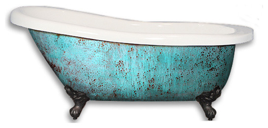 Patina custom painted 61 acrylic clawfoot tub deck mount rustic bathtubs by the tub - Painted clawfoot tub exterior pict ...