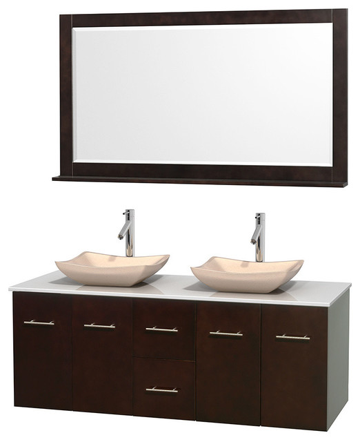 "60"" Double Bathroom Vanity, Man-Made Stone Countertop ..."