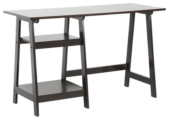 Mott Wood Desk With Sawhorse Legs Dark Brown