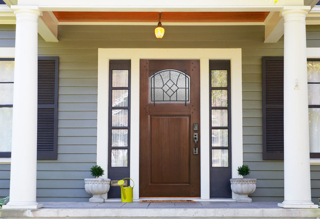 Bungalow Door in Mahogany wood with Winslow grille - Farmhouse - Front Doors - houston - by ...