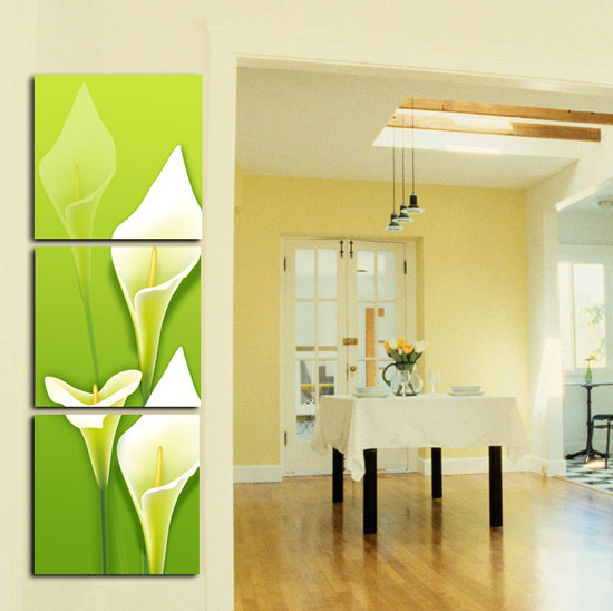 vertical three panel flower canvas prints for home decor