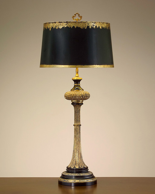 john richard 36 h black and gold carved wood table lamp. Black Bedroom Furniture Sets. Home Design Ideas