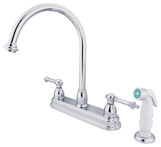 Two Handle Kitchen Faucet With White Sprayer in Polished