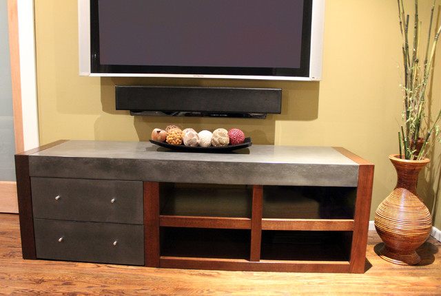 Concrete media console modern entertainment centers Modern media console