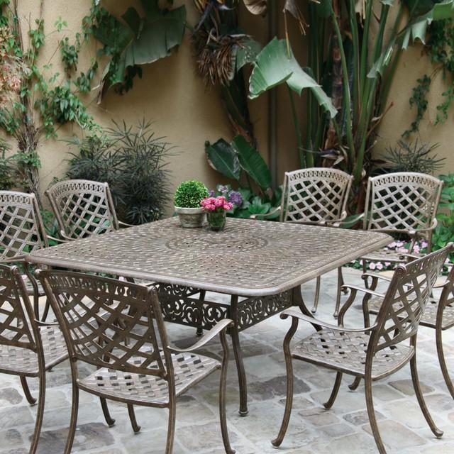 Darlee Sedona 8 Person Cast Aluminum Patio Dining Set Mocha Modern Outdoor Dining Sets