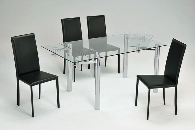 Extendable Glass Top Leather Dinner Furniture Set