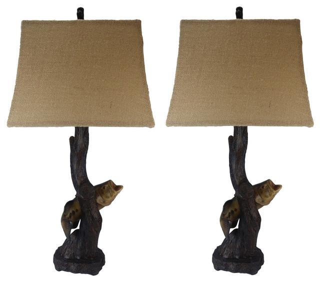 Bass Fish Lamp, Set Of 2 - Kids Lamps - by Jenkins Lamp, Inc.