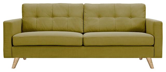 Avocado Green Uma Sofa Natural Wood Color Midcentury