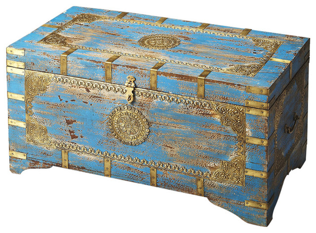 Butler Neela Painted Br Inlay Storage Trunk Traditional Decorative Trunks