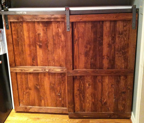 Barn Door Distressed Wood Cabinet By The Yellow Peony