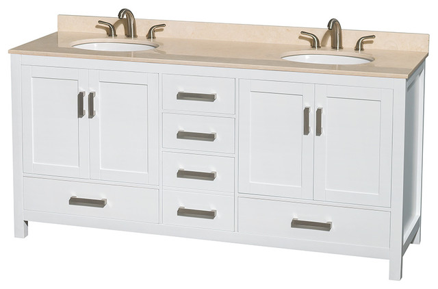 Sheffield 72 White Double Vanity With Ivory Marble Top Undermount Oval Sink Modern