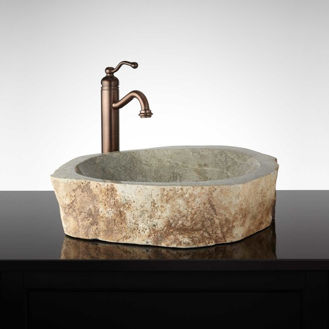 Offuta Natural Stone Vessel Sink Traditional Bathroom Sinks