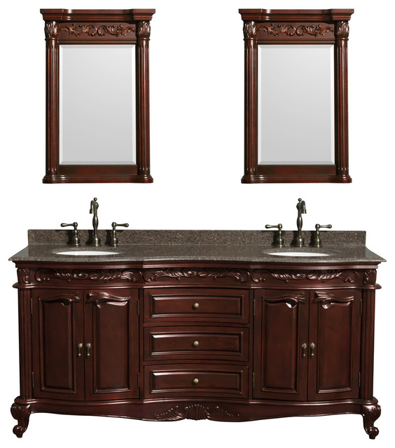 "Edinburgh 72"" Double Vanity, Cherry, Brown Granite Top, Undermount Oval Sinks"