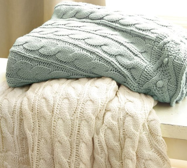 Cable Knit Throw Traditional Throws By Pottery Barn