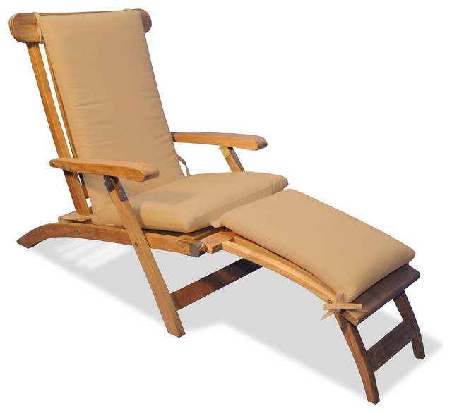 Teak steamer chair chaise lounge with sunbrella cushion for Beach chaise longue