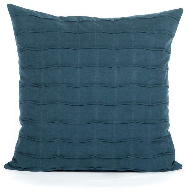 Navy / Dark Blue Hand Crafted Pintuck Accent Throw Pillow Cover - Modern - Decorative Pillows ...