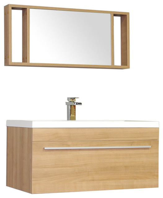 "36"" Single Modern Bathroom Vanity, Light Oak"