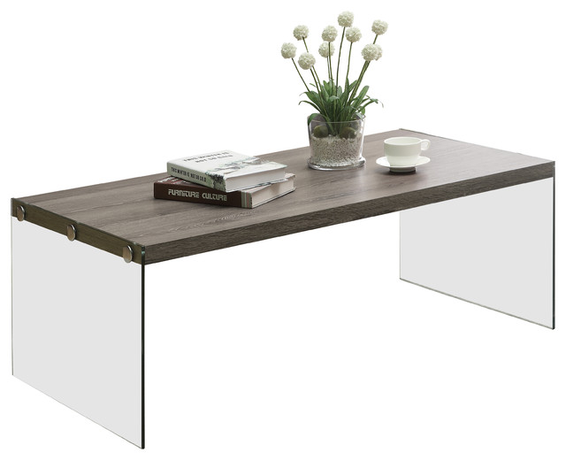 Dark Taupe Reclaimed Look Tempered Glass Cocktail Table Contemporary Coffee Tables