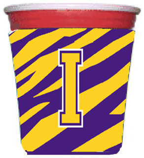 Monogram - Tiger Stripe - Purple Gold Koozie I - Contemporary - Drink Sleeves - by the-store