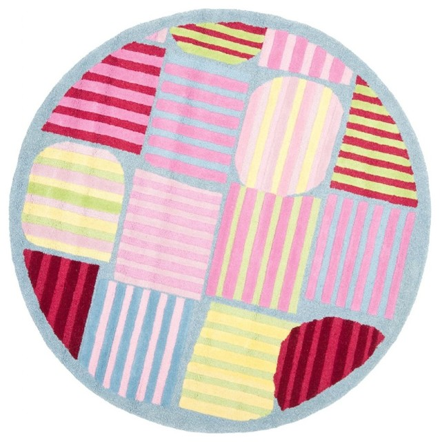 Kids safavieh kids round 6 39 round blue multi color area for Round rugs for kids