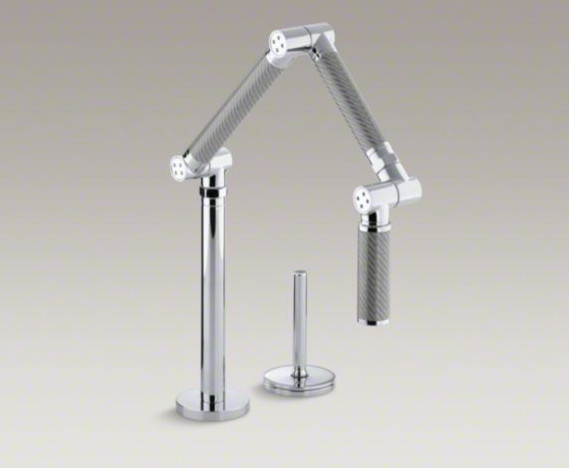 karbon articulating two hole deck mount kitchen sink
