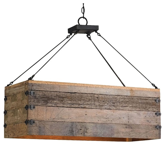 reclaimed wood crate chandelier rustic kitchen island