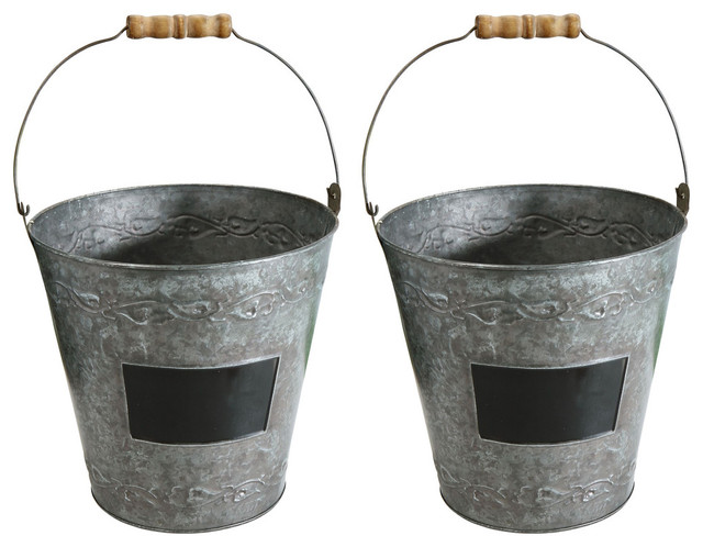 Decorative Metal Garden Buckets With Wood Handles Set Of