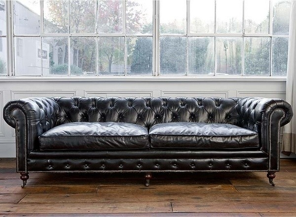 Chesterfield Sofa, Vintage Black Leather - Traditional - Sofas - by ...