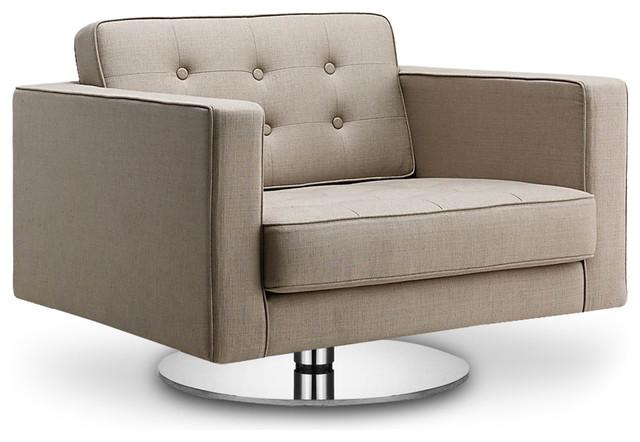 Chelsea beige premium easy chair swivel modern for Modern swivel accent chair