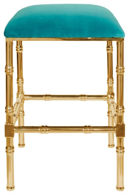 Brass Bamboo Counter Stool With Velvet Cushion Bar  : bar stools and counter stools from www.houzz.com size 424 x 640 jpeg 54kB