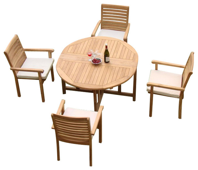 Dining set 48 quot round butterfly table and 4 hari stacking arm chairs
