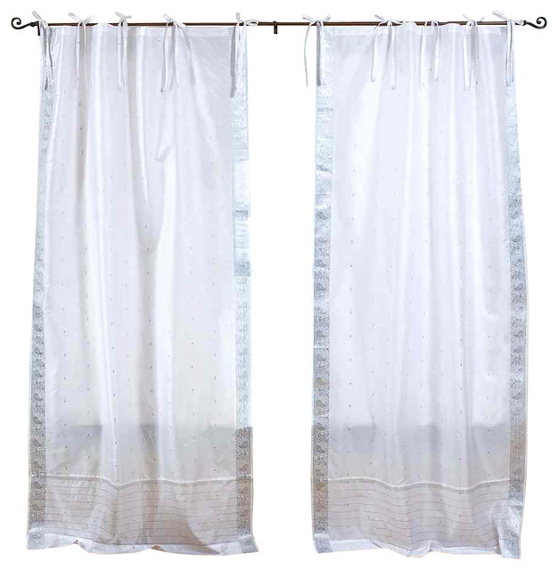 Silver Curtains And Bedding Purple Tie Top Curtains