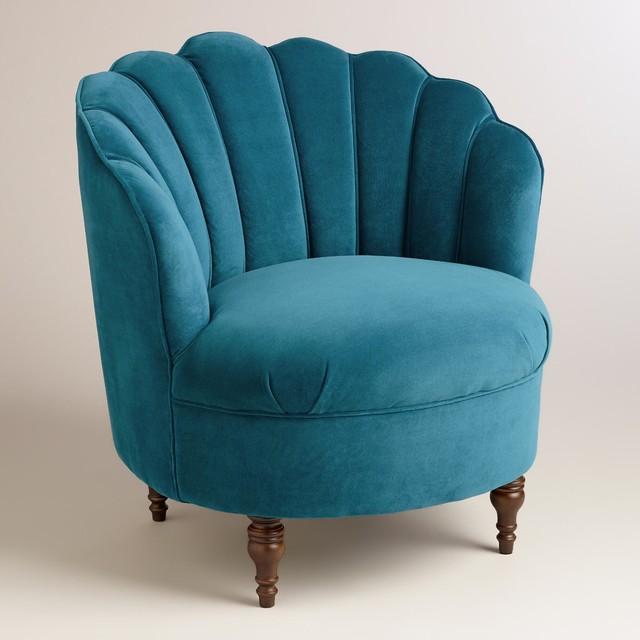 Modern peacock blue velvet telulah chair modern curtains