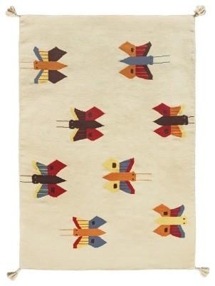 tapis beige kilim papillons contemporain tapis fantaisie par r ve de pan. Black Bedroom Furniture Sets. Home Design Ideas