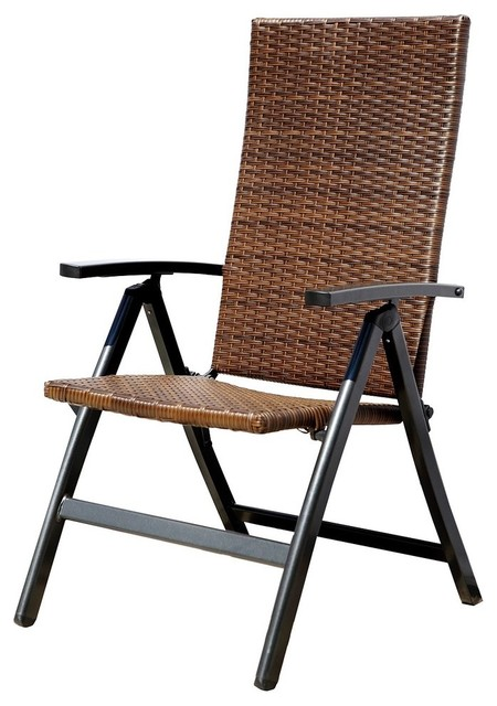Hand Woven PE Wicker Outdoor Reclining Chairs Set of 2 Outdoor Folding Cha