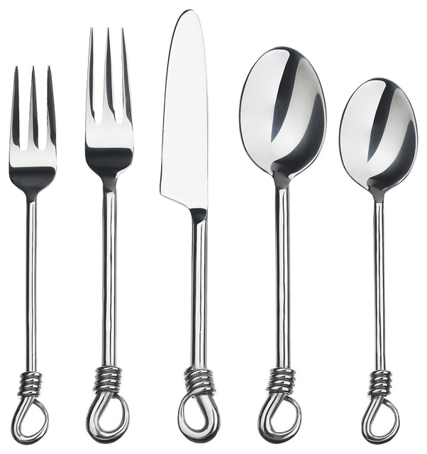Gourmet settings handmade twist 20 piece flatware set modern flatware and silverware sets - Gourmet settings silverware ...