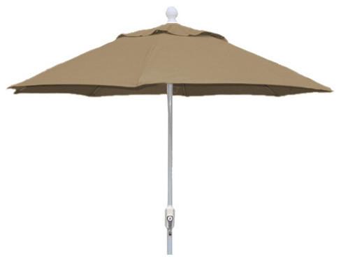 9 foot beige patio olefin hexagonal umbrella with white