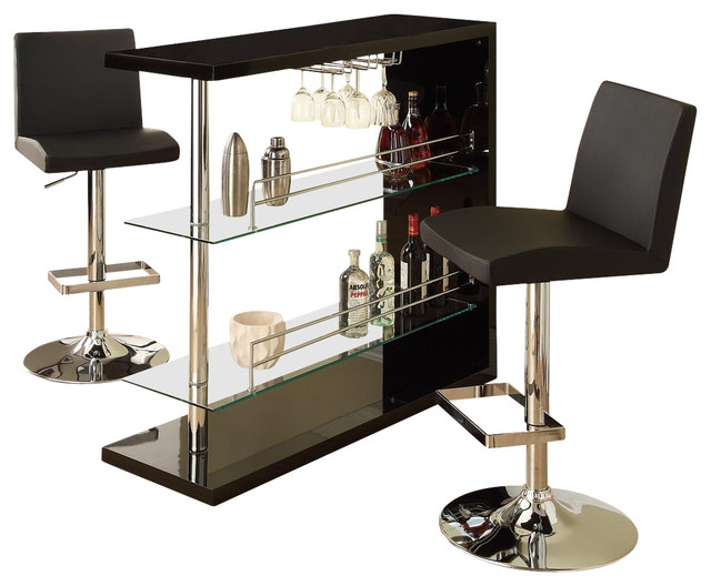 3 PCS Rectangular Wine Rack Bar Table Stool Set Black