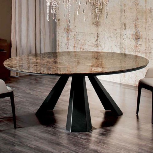 Eliot round marble dining table 71 inch modern dining for Round marble kitchen table