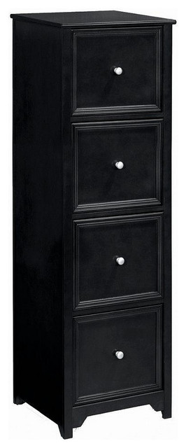 Oxford 4-Drawer File Cabinet, Black - Traditional - Filing Cabinets - by Luxe Home Decorators