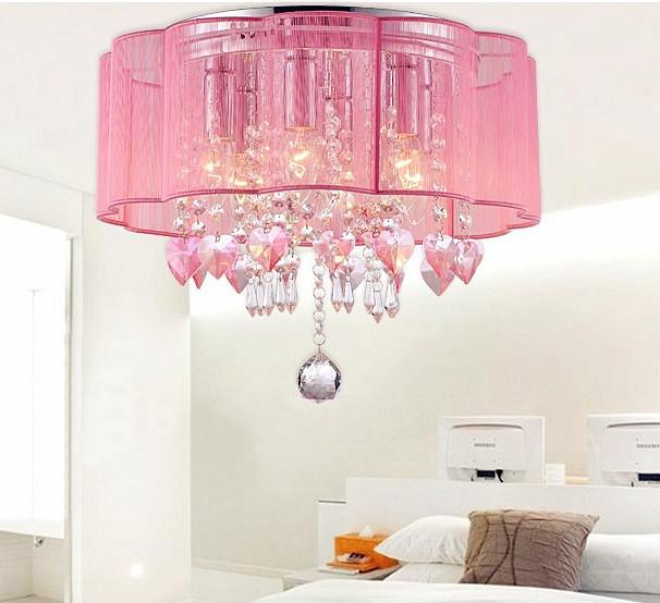 Warm sweet pink crystal ceiling lights bedroom modern for Flush mounted lights for bedroom
