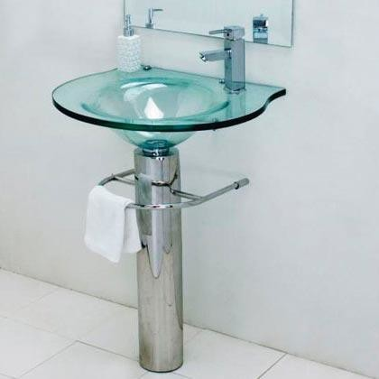 Clear Glass Pedestal Sink and Mirror - Traditional - Bathroom Sinks ...