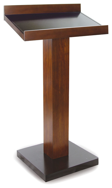 Espresso & Oak Two Tone Accent Book Table Stand W/ Reeded Leg & Pedestal Base - Contemporary ...