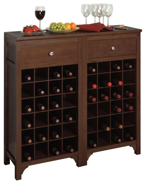 Winsome Wood Modular Wine Cabinet With Antique Walnut Finish X 83649 Contemporary Wine And