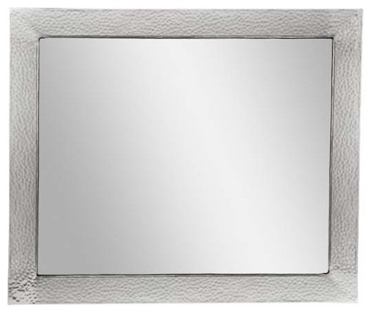 Dimple Framed Rectangular Mirror Satin Nickel Contemporary Bathroom Mirrors By Knobdeco